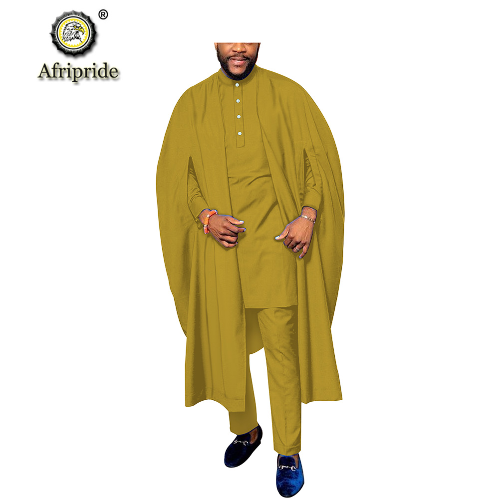 2019 African Men Traditional Clothing 3 Piece Set Dashiki Shirt+Ankara Pants+Agbada Robe Heritage Outfits AFRIPRIDE S1916031