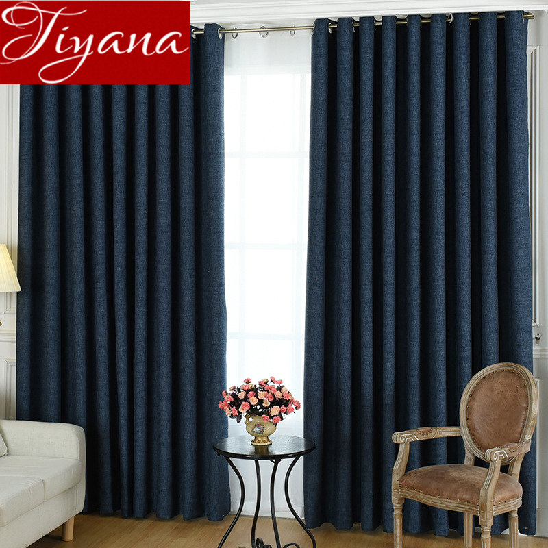 Linen Thickening Curtain Blackout For Living Room Dark Blue Solid  Curtain For Window Bedroom Drape Fabric   Custom Made X591#30