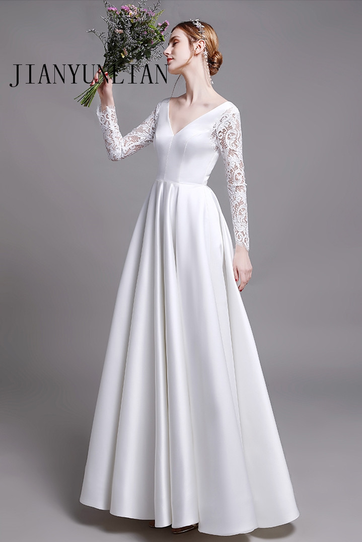 Elegant Satin Wedding Dresses With Pocket Vestidos Noiva Lace long Sleeves Bridal Gowns 2020 Floor Length white Bride Dress