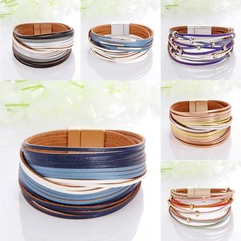 WYBU Multilayer Leather Bracelet For Women Magnet Clasp Charm Braided Wide Wrap Bracelets Bangles Female Bohemian Style Jewelry 1