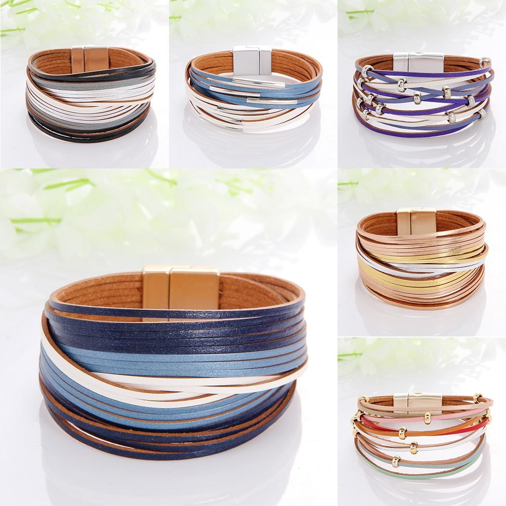 WYBU Multilayer Leather Bracelet For Women Magnet Clasp Charm Braided Wide Wrap Bracelets Bangles Female Bohemian Style Jewelry