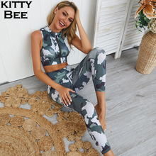 Yoga Set Gym Clothing Fitness Women Camo Workout Zipper Sport Suit Tracksuit High Waist Leggings Padded Sports Bra