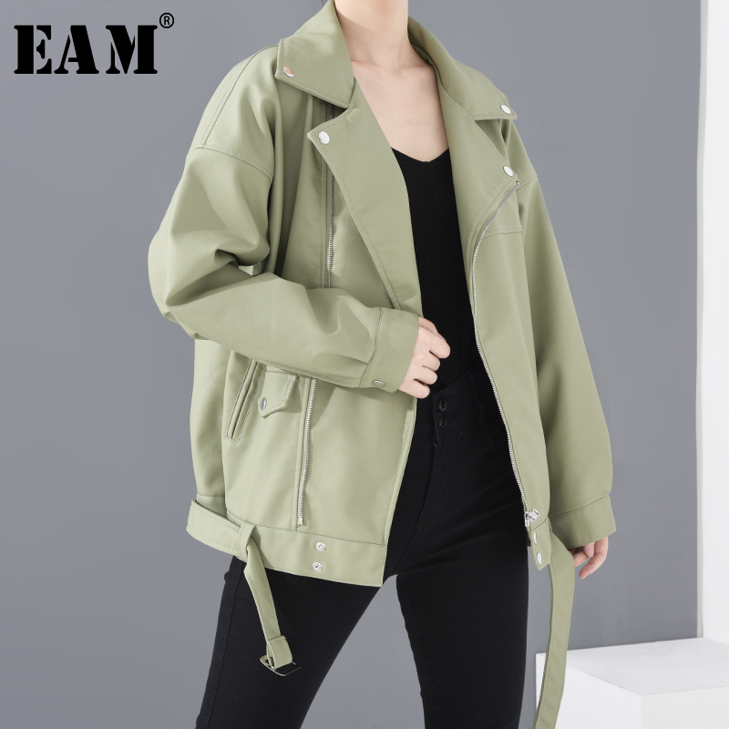 [EAM] Loose Fit Green Belt Split Pu Leather Big Size Jacket New Lapel Long Sleeve Women Coat Fashion Tide Spring 2020 LA93804 1