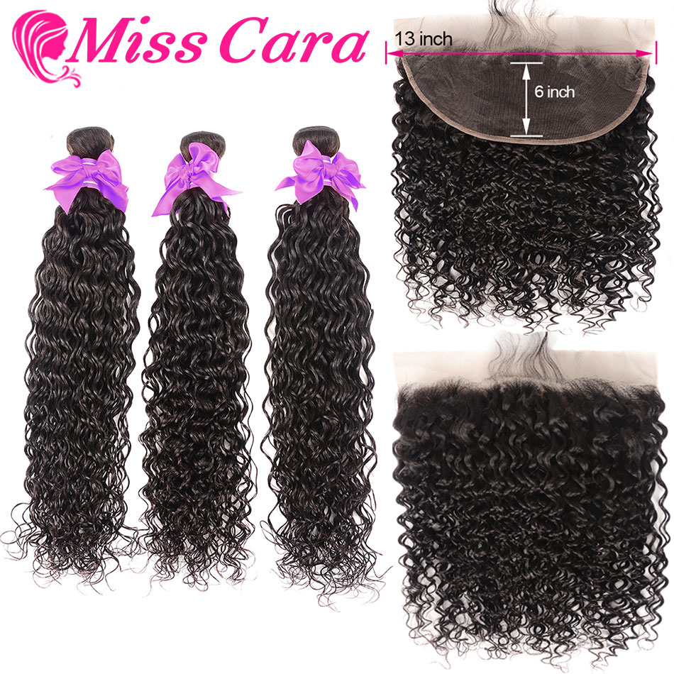 Brazilian Water Wave Bundles With Frontal Miss Cara 100% Remy Human Hair 3/4 Bundles With Closure 13*6 Frontal With Bundles
