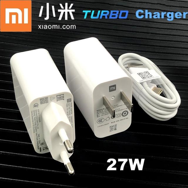 Xiaomi Mi 10 chargeur rapide Original 27w QC 4.0 adaptateur chargeur Turbo rapide Usb Type C câble pour Mi 9 T SE 10 pro k30 pro A3 Mix 3