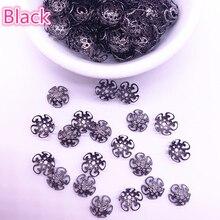 Nowy 150 sztuk 8/10mm Hollow kwiat ustalenia stożek koraliki końcowe czapka filigran DIY tworzenia biżuterii #05
