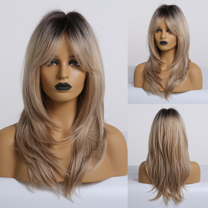 Image 5 - EASIHAIR Brown Medium Length Wave Wigs with Bangs Synthetic Wigs for Black Women High Density Cosplay Wigs Heat Resistant