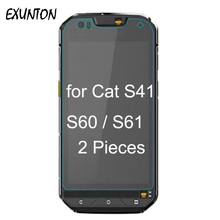 2PCS For Cat S60 S61 S41 9H 2.5D Premium Tempered Glass Screen Protector Film Caterpillar CAT Protective