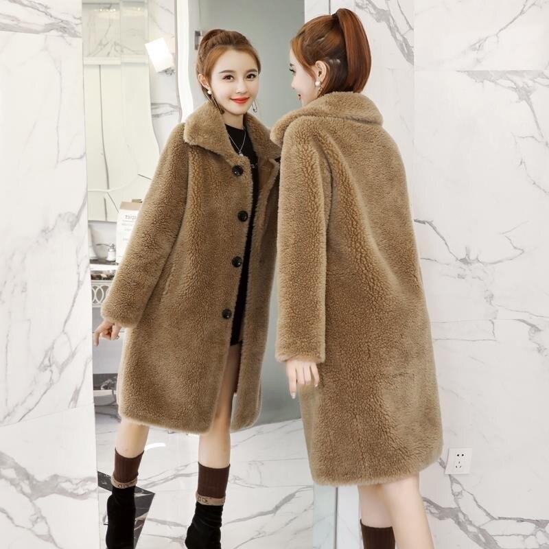 Streetweat Turn-down Faux Fur Bear Coats Long Sleeve Jackets Autumn Wool Teddy Parka Women Fourrure Femme Winter Fashion Womens