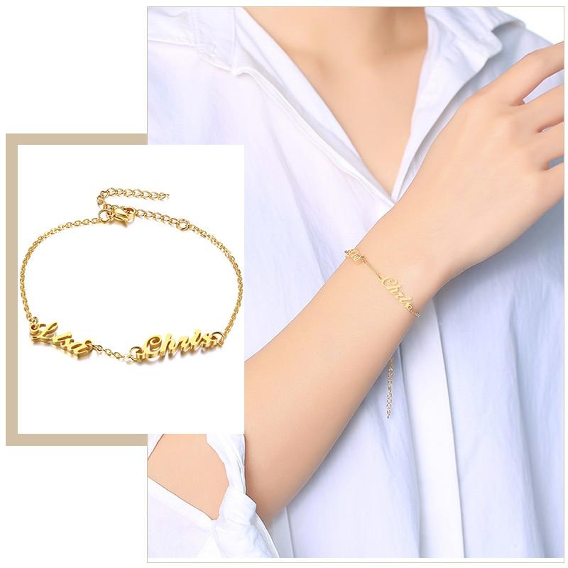 Women's Trendy Personalized Custom Name Bracelets Stainless Steel Link Chain Handwriting Info Birthday Love Anniversary Gifts