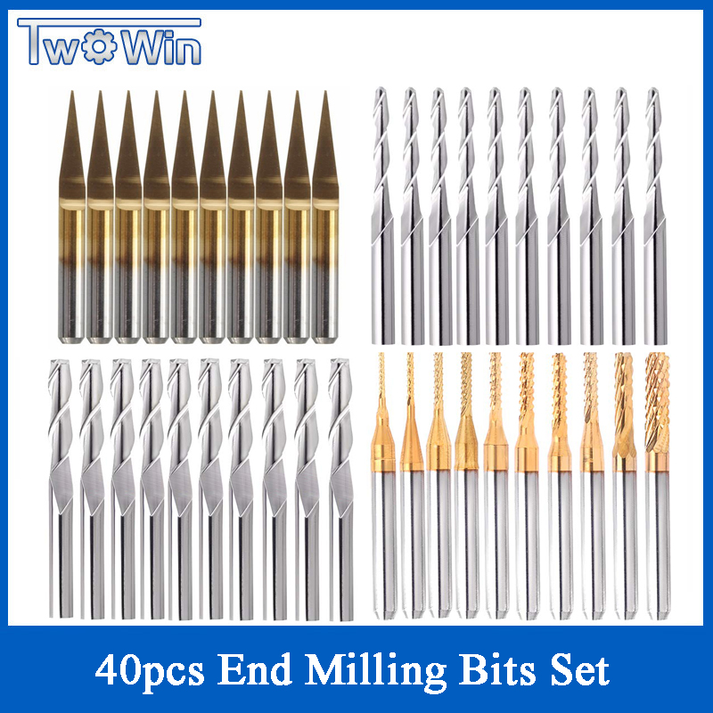 40pcs 3.175mm Titanium Coated Essential CNC Router Bits End Mill Cutter Mini PCB Carbide Router Bits Kit Set For Milling Tools