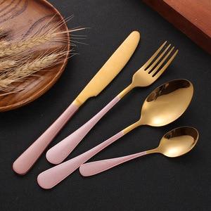 Image 1 - Ensemble de coutellerie 24 pièces, couteaux, fourchettes, cuillères, or rose, service de table de mariage, couverts en acier inoxydable