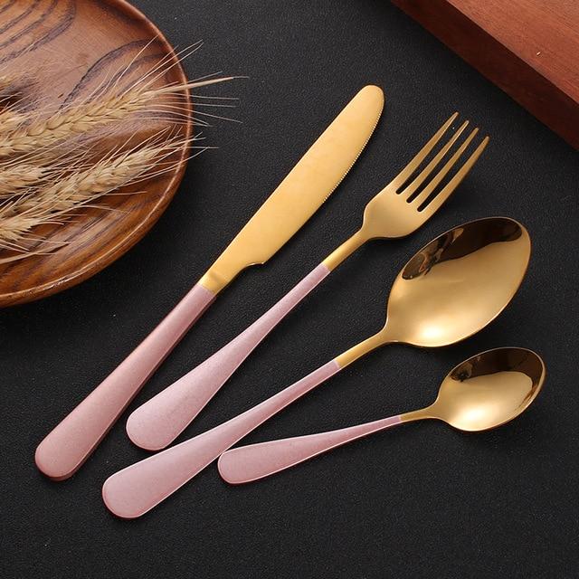 Ensemble de coutellerie 24 pièces, couteaux, fourchettes, cuillères, or rose, service de table de mariage, couverts en acier inoxydable