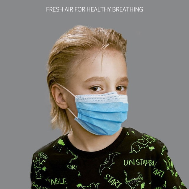 50Pcs 3 layer Disposable Elastic Mouth Soft Breathable Blue Soft Breathable Flu Hygiene Child Kids Face Mask Dropshipping 1