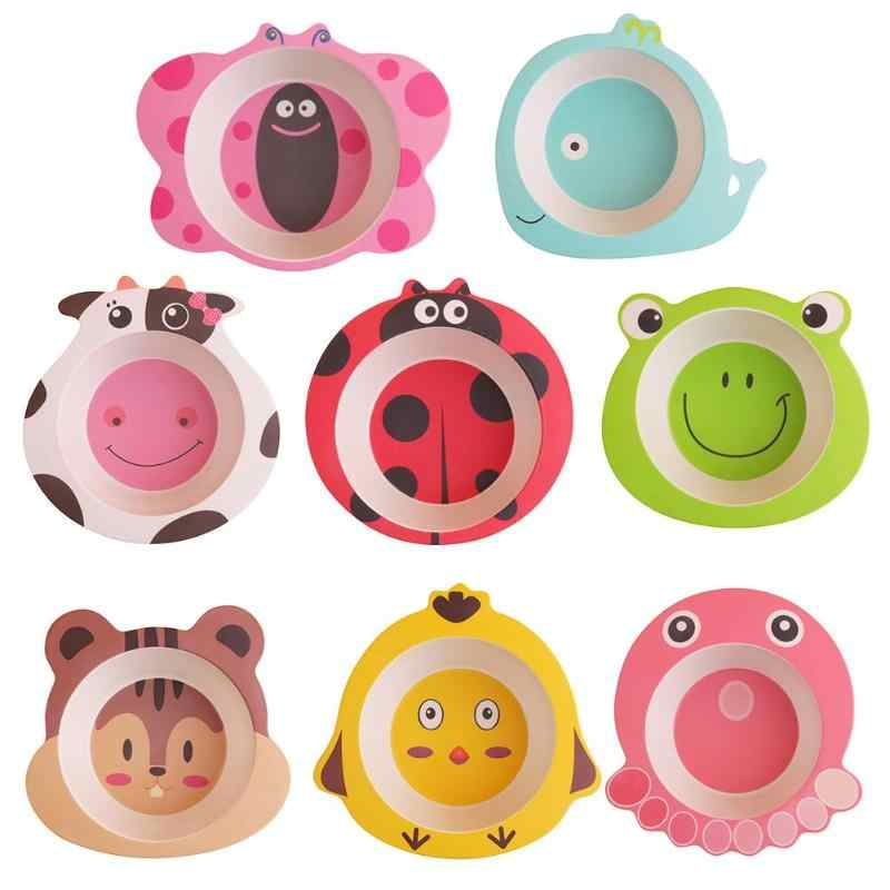 Baby Bamboo Fiber Bowls Cute Cartoon Animal Dishes Baby Feeding Tableware Children Infant Toddler Kids Natural Portable Plates