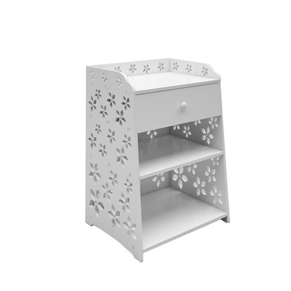 Exquisite Cherry Blossom Pattern PVC Bedside Table With Drawer White Night Table Side Table For Bedroom