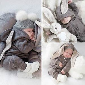 Baby Suit Romper Onesies Zipper-Clothes Rabbit Cartoon Big Cotton Coat Crawling Ears