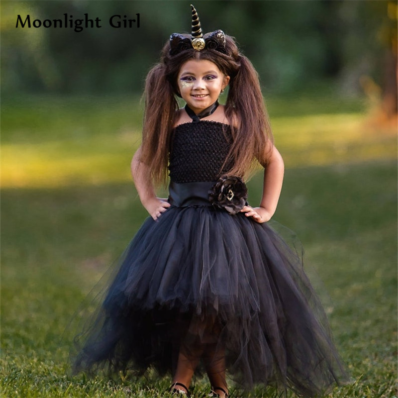 Girls Black Evil Unicorn Dresses With Headband Halloween Unicorn Costume For Kids Clothes Unicorn Party Dresses For Girls Pq239