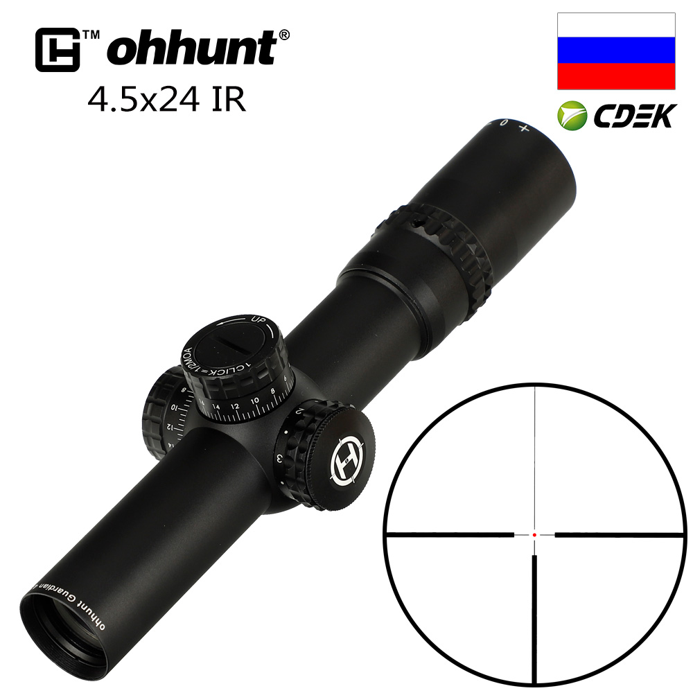 Ohhunt Guardian 4.5x24 Hunting Rifle Scope 30mm Tube Tactical Optics Sight 1/2 Half Mil Dot Reticle Turrets Reset Riflescope