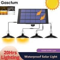 Potente lámpara cuatro cabezales Solar colgante al aire libre de la luz de la lámpara Solar con cálido blanco o iluminación para acampada, jardín patio 3680LM