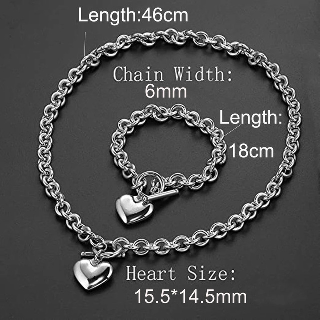Love Heart Necklace and Bracelet Jewelry Sets for Women Gift Stainless Steel Engagement Wedding Party Chain Set Jewelry Fashion 4