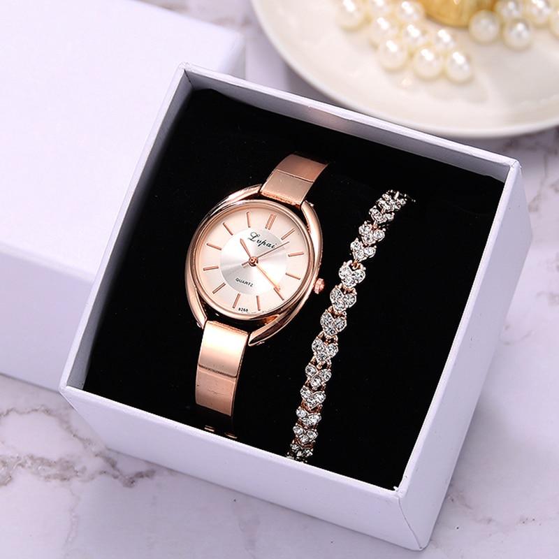 Lvpai Brand 2pcs Set Women Bracelet Watches Fashion Women Dress Ladies Wrist Watch Luxury Rose Gold Quartz Watch Set Dropshiping