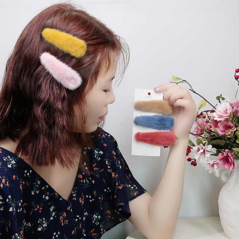 Mädchen haar zubehör Frauen Vintage lämmer wolle haar clips haarnadeln grips faux pelz barrettes für kinder Headwear