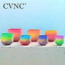 "CVNC 6 12"" Crystal Singing Bowl 432Hz with Rainbow Color Note CDEFGAB"
