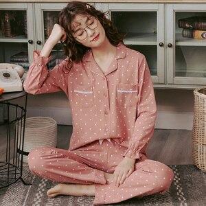 Image 2 - Bzel新ファッションパジャマの女性の綿のかわいいパジャマ女の子長袖トップス + パンツポケットポルカドットカジュアルラウンジ着用