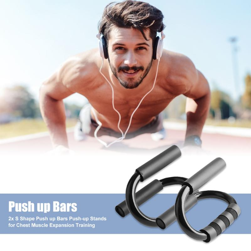 1 Pair Practical S-Shaped Non-slip Push Up Bars Stands Chest Muscle Expansion Training Push-up Stands Workout Fitness Tools