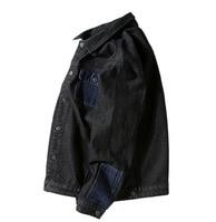 Blue Splice Black Contrast Color Jeans Jacket Men Loose Denim Jackets Plus Size Korean Style Spring Coat Man Clothes Hip Pop New