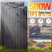 แผงพลังงานแสงอาทิตย์18V 250W 500W TPT พลังงานแสงอาทิตย์แผงพลังงานแสงอาทิตย์ Car Charger ระบบชุดแผงพลังงานแสงอาทิตย์ที่สมบูรณ์แบบสำหรับกลางแจ้ง Camping