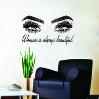 Woman Make Up Wall Sticker Eye Eyelashes Wall Decal Lashes Extensions Beauty Shop Decor Eyebrows Eyebrows Mural Beauty Gift D643