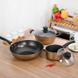 Wok Non-stick Pot Household Multi-functional Stew Pot Milk Pot Fuel Gas Cooker Applicable Sootless Fine Iron Non-stick Set