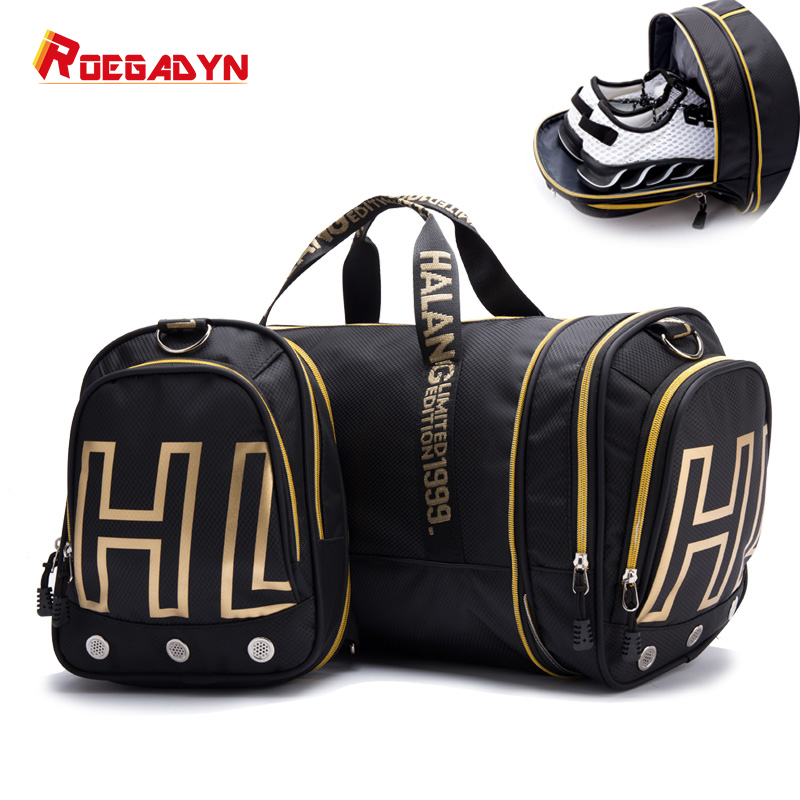 ROEGADYN Large Capacity Chest Bag Folding Gym Bag Men Fitness Bag For Gym Men Waterproof Sport Bag Men Gym Bag  Shoe Compartment