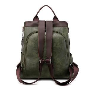 Image 4 - Toposhine盗難防止、女性のバックパックファッションシンプルな無地スクールバッグpuレザーの女性のバックパック女の子女性バッグ