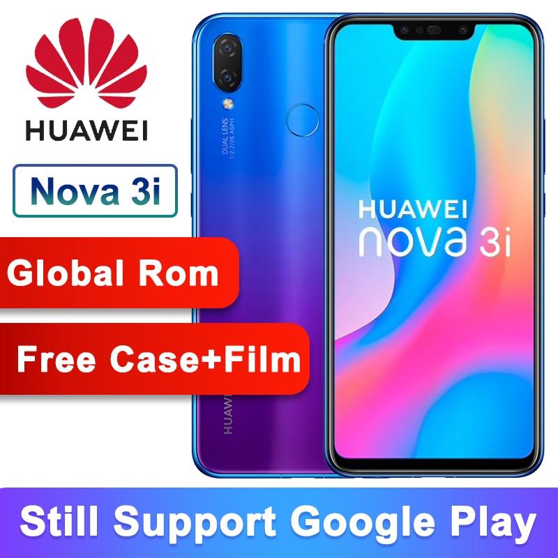 ROM globale originale Huawei nova 3i nova 3i Smartphone 4G RAM 128G ROM 6.3 pouces Kirin710 Octa Core Android 8.1 téléphone Mobile