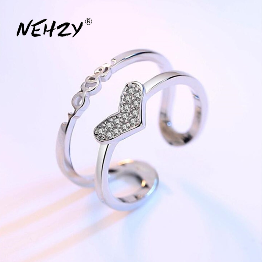 NEHZY 925 sterling silver new jewelry high quality retro fashion woman cubic zirconia heart-shaped hollow size adjustable ring