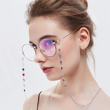 Fashion Crystal Eye Glasses Eyewear Chain Holder Women Men A