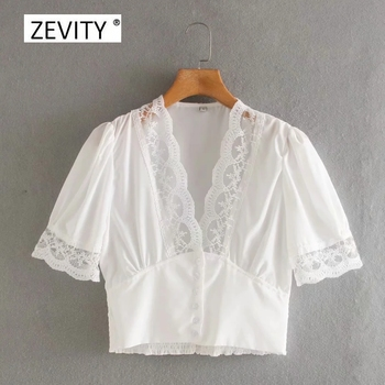 Zevity New Women V Neck Lace Patchwork Casual Smock Blouse Female Short Sleeve Breasted Shirt Chic Hem Elastic Blusa Tops LS6891