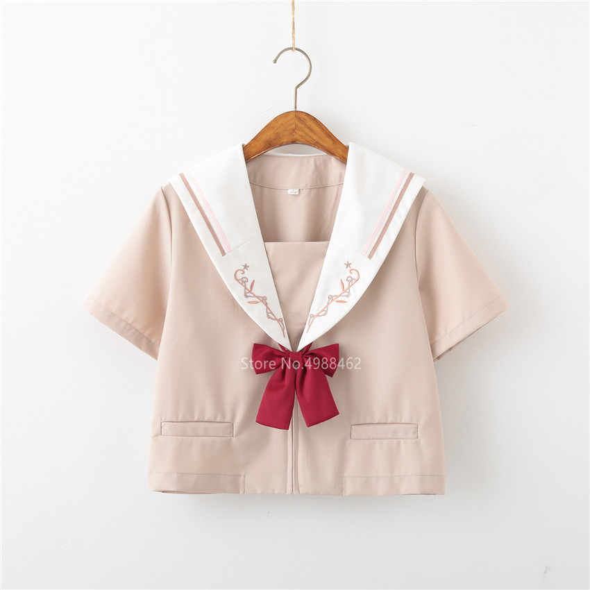 Jk Unifrom Voor Japanse Student High School Meisjes Kawaii Borduurwerk Pak Rood Matrozenpakje Geplooide Rok Jurk Set Koreaanse Outfit