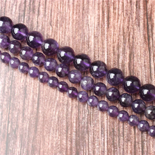 Hot Sale Natural Stone Amethyst Beads 15.5 Pick Size: 4 6 8 10 mm fit Diy Charms Beads Jewelry Making Accessories