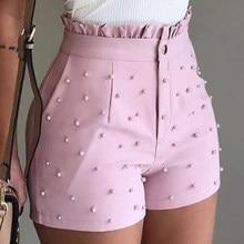 Pantalones Cortos De cintura alta con abalorios para Mujer, Shorts informales con volantes, para verano