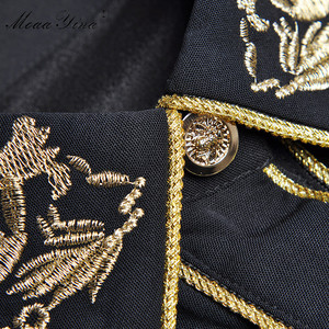 Image 5 - MoaaYina Fashion Designer Runway dress Spring Summer Women Dress Long sleeve luxurious Gold Line Embroidery Black Dresses