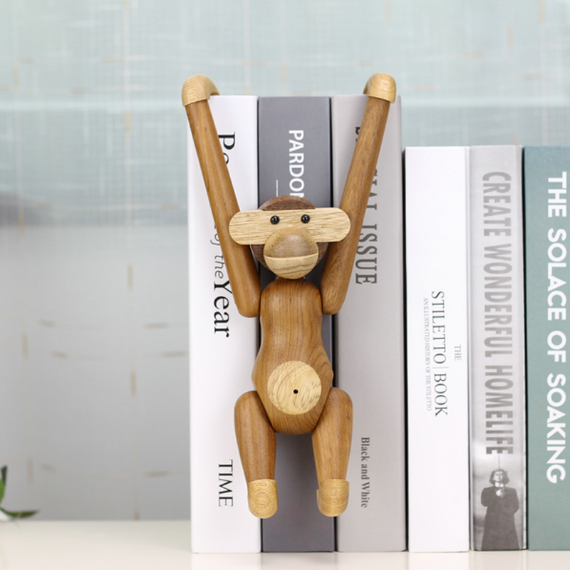 Hanging Wooden Monkey Dolls Nordic Fashion Design Wood Carving Animal Crafts Gifts Home Decoration Accessories Living