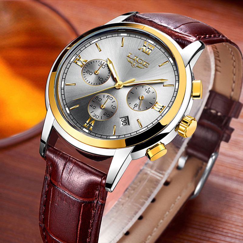 <font><b>LIGE</b></font> New Men Watch Top Brand Blue Leather Chronograph Waterproof Sport Automatic Date Quartz Watches For Mens Relogio Masculino image