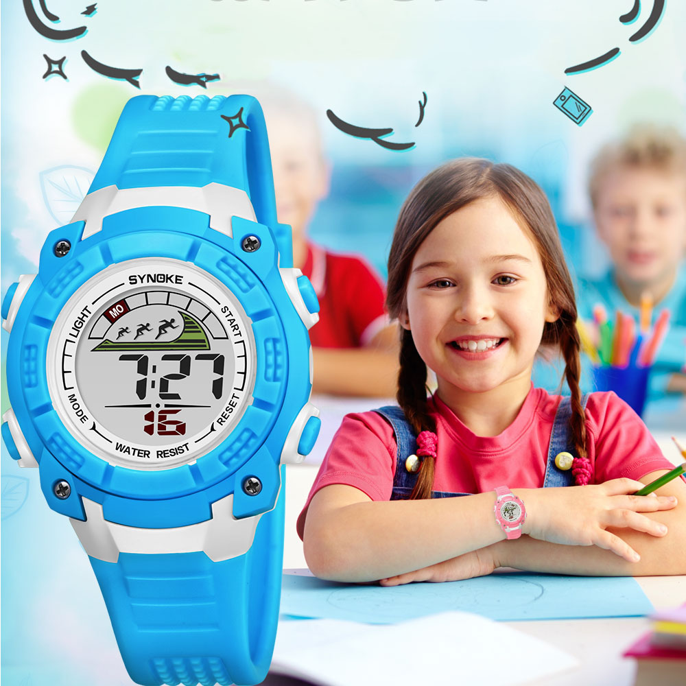 SYNOKE Sport Children's Watches Water Resistant Digital Watch Cartoon Blue Kids Boys Girls Silicone Luminous Clock Gift 2019