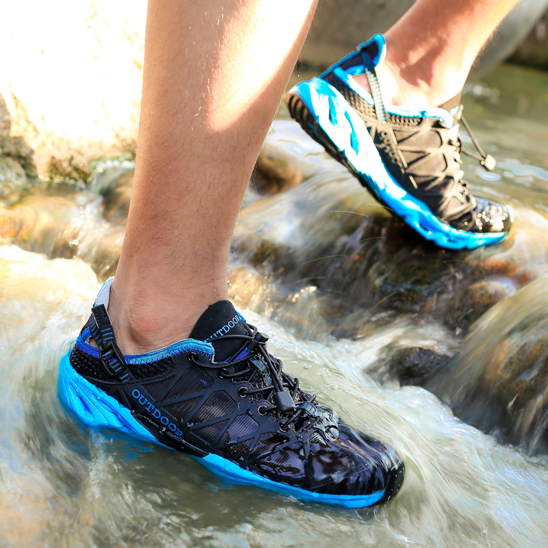 Outdoor Sports Upstream Aqua Shoes Air Mesh Men Fishing Water Beach Shoes Quick Dry Hiking Shoes Women Swimming Sandals Sneakers