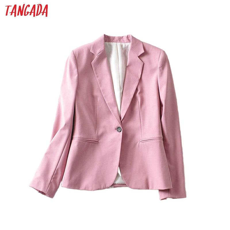 Tangada Women Candy Color Elegant Blazer Female Long Sleeve Elegant Jacket Ladies Work Wear Blazer Formal Suits 6A58