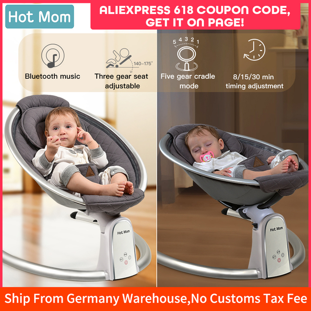Electric Baby Bouncers with Bluetooth and Five Gear Swing,Hot Mom Intelligence Timing Baby Swing,Pure Cotton Baby Rocker Cardle 1